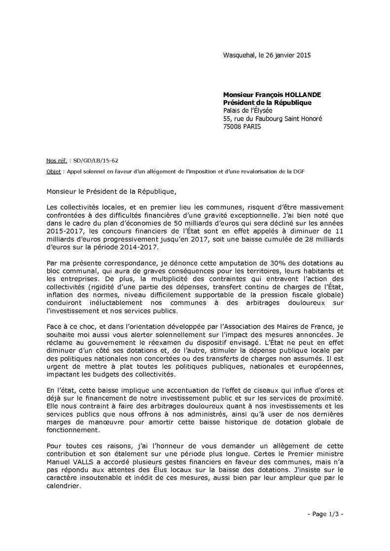 Lettre au président de la République 1sur3
