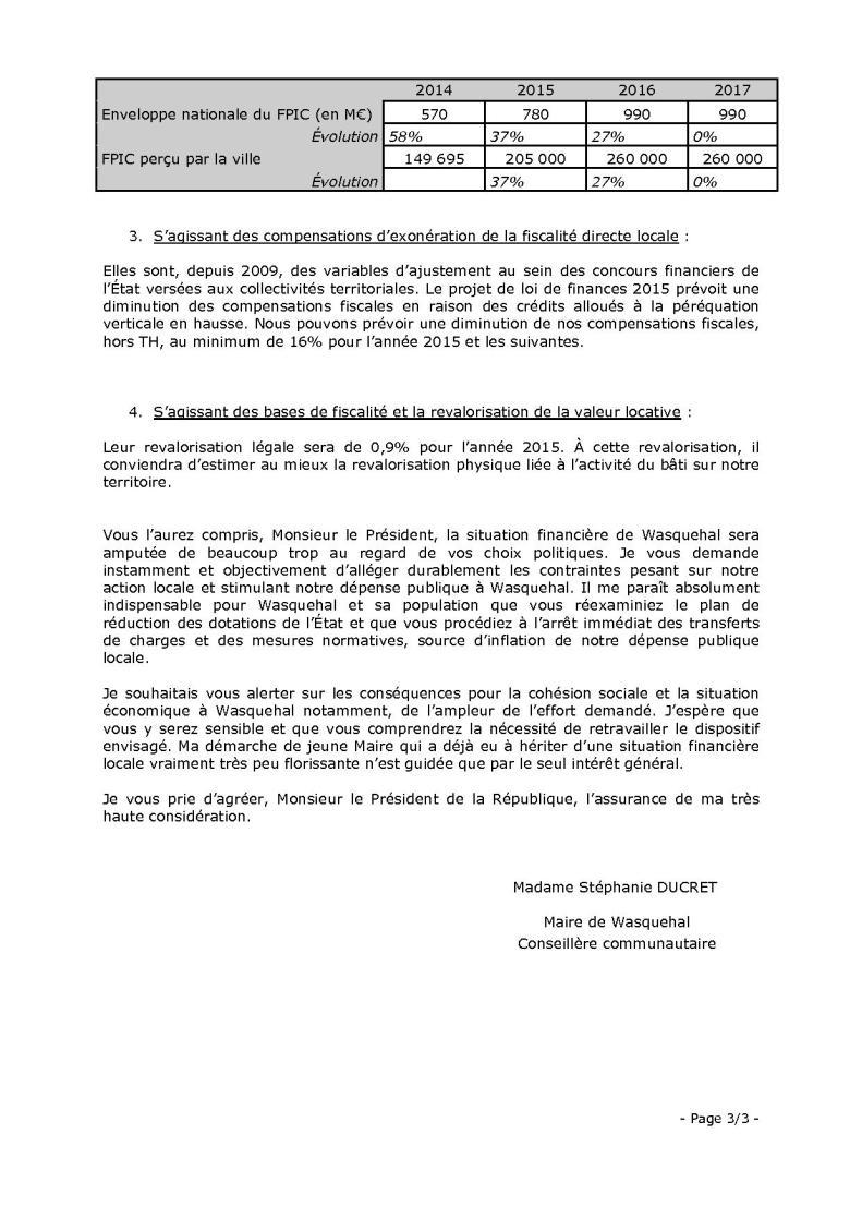 Lettre au président de la République 3sur3